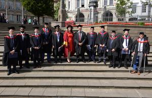 Graduates with Sue Husband