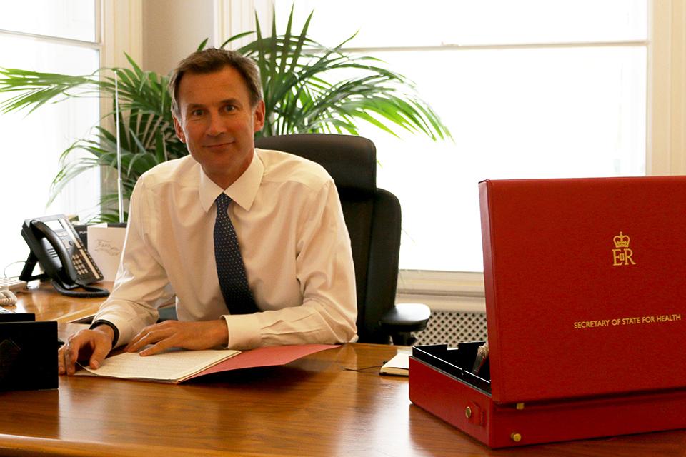 Jeremy Hunt as his desk