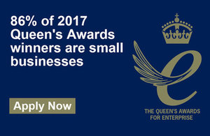 Queen's award for enterprise logo and fact that 86% of award holders are small businesses