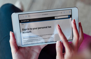 Mobile phone displaying the personal tax account