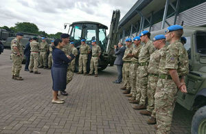 Priti Patel meets members of 32 Engineer Regiment as they prepare to deploy in support of the UN Peacekeeping mission in South Sudan.