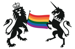 The government crest with a rainbow flag