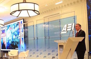 Liam Fox speaking at AEI