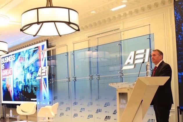 Liam Fox speaking at AEI