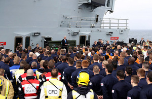 Sir Michael Fallon visited the new aircraft carrier HMS Queen Elizabeth whilst on sea trials.