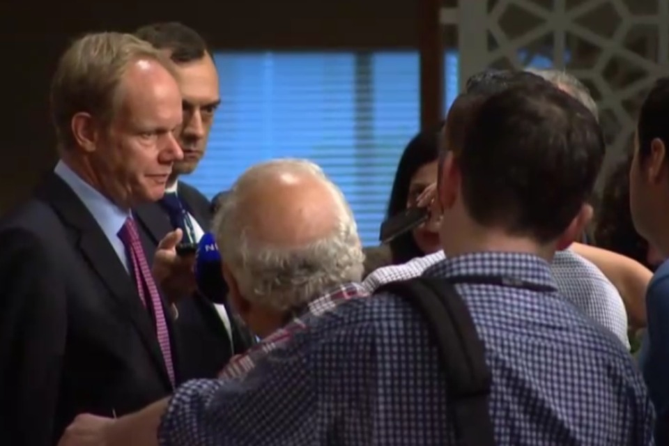 Matthew Rycroft speaks to journalists outside the UN Security Council