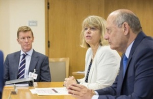 Minister Harriett Baldwin with Defence External Innovation Advisory Panel members Major Tim Peake and Ron Dennis