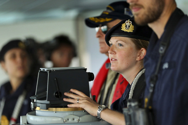 HMS Duncan's Navigating Officer, Lieutenant Jen Cory, guiding the ship into the port of Odessa.