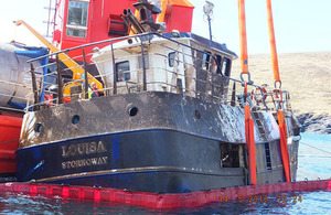 Fishing vessel Louisa being recovered from the water