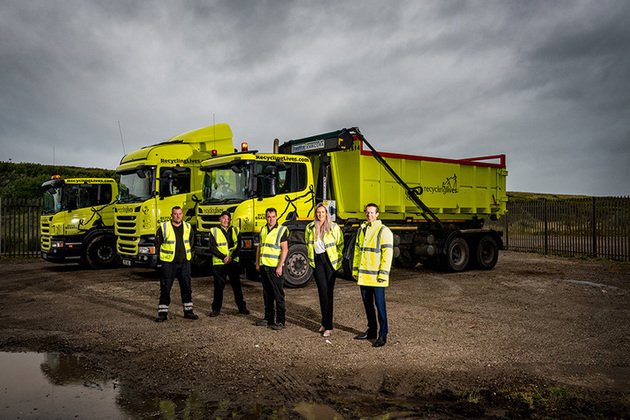 Employees from Recycling Lives at their new site in Workington