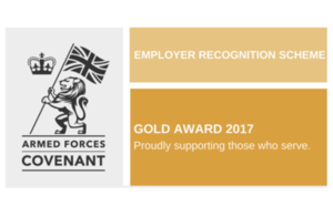 The Employer Recognition Scheme (ERS) Gold Award for the Armed Forces Covenant logo.