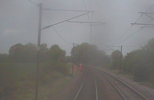 Forward facing CCTV image showing staff moving clear of the line (courtesy of Greater Anglia)