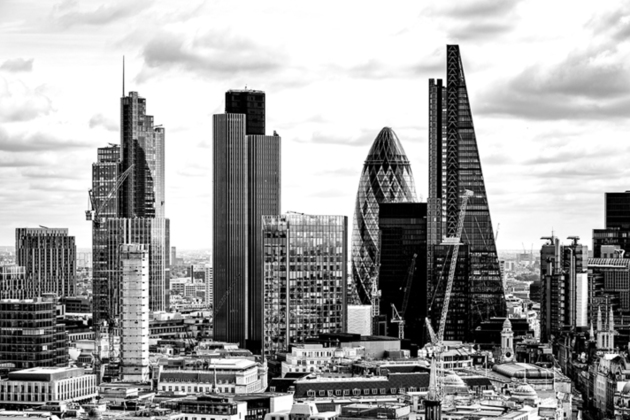 CIty of London skyline in black and white