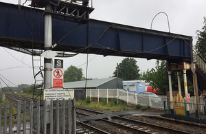 Footbridge at Abergavenny station following the accident (image courtesy of Network Rail)
