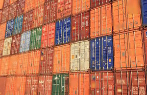 Containers on a ship