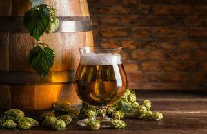 beer barrel and hops