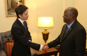 President Magufuli shaking hands with Min. Rory Stewart