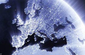 Nighttime satellite image of UK and Europe.