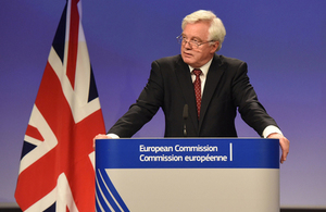 Secretary of State for Exiting the European Union during the press conference.