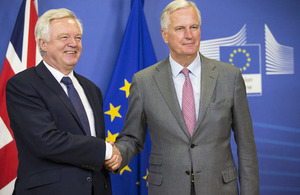 Secretary of State for Exiting the European Union David Davis and Michel Barnier at the press conference