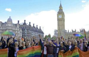 London Pride march participants on Parliament Square