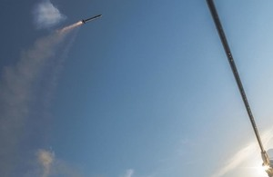 One of the Sea Ceptor missiles fired by HMS Argyll earlier this Summer. MBDA Copyright.
