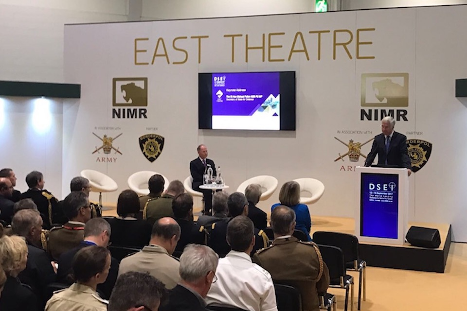 The Defence Secretary speaking at DSEI 2017.