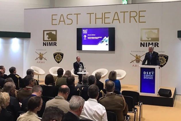 The Defence Secretary delivering the Keynote Speech at DSEI 2017.