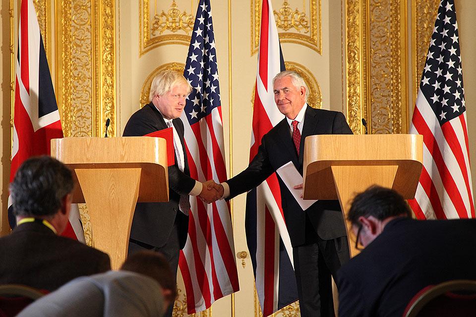Foreign Secretary Boris Johnson and US Secretary of State Rex Tillerson