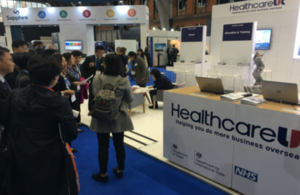 Members of the Chinese delegation visiting the Healthcare UK stand at NHS Expo in Manchester