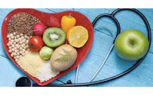 Heart health diet food and stethoscope