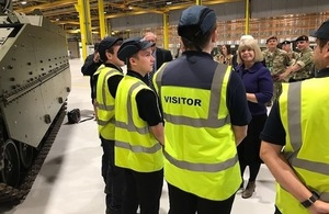 Defence Minister Harriett Baldwin met with apprentices working on the Ajax programme at the factory in Merthyr Tydfil, Wales.
