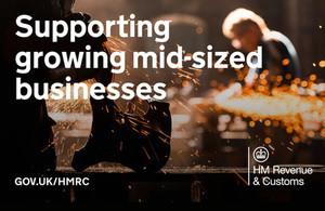 Growth support graphic with text: 'Supporting growing mid-sized businesses'