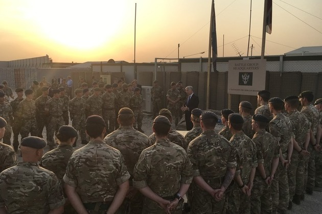 Defence Secretary, Sir Michael Fallon, addresses troops in Erbil. Crown copyright.