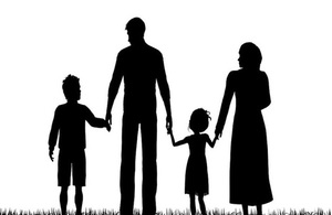 Refugee family silhouette