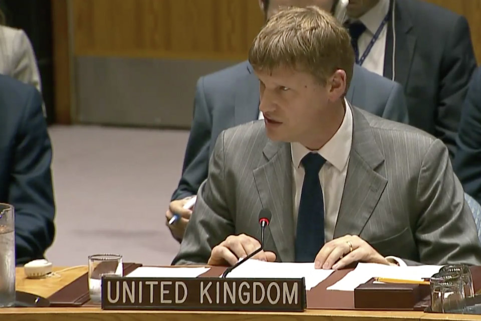 Jonathan Allen, UK Deputy Ambassador to the United Nations, at the Security Council