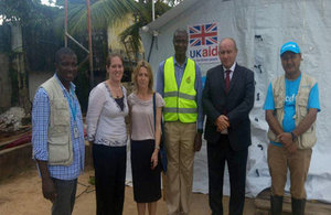Mary Hunt (third from the left), new Head of UKaid Sierra Leone, at the mudslide site to discuss UK support