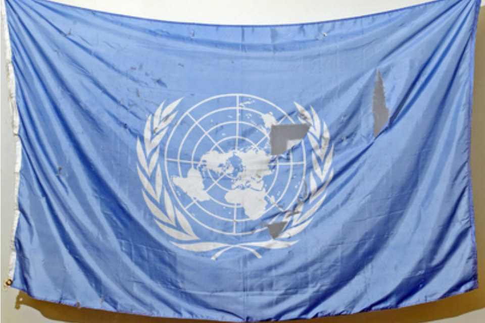 UN flag recovered from debris of bombed UN office in Baghdad