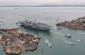 Britain's future flagship HMS Queen Elizabeth as she sailed into her home port of Portsmouth for the first time. Crown copyright.