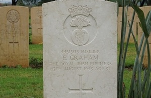 E Graham's headstone, Crown Copyright, All rights reserved