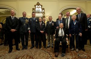 The Veterans honoured with HMA Mark Kent, SoS David Mundell and Argentine Air Force Deputy Chief, Fernando Nieto
