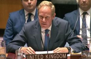 Ambassador Matthew Rycroft, UK Permanent Representative to the United Nations, at the Security Council