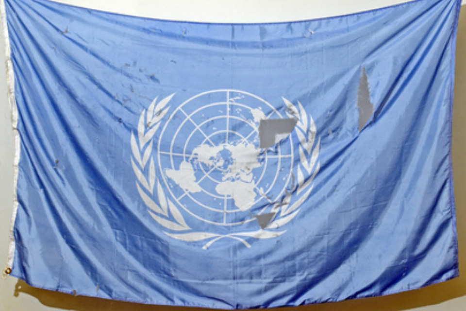 UN flag recovered from debris of bombed Baghdad site