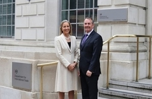New minister Baroness Rona Fairhead is greeted outside the Department for International Trade