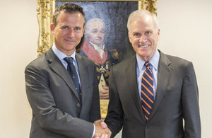 Minister of State for the Armed Forces, Mark Lancaster, meets US Secretary of the Navy, Richard Spencer. Crown copyright.