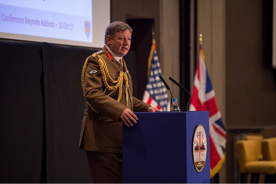 General Sir Chris Deverell speaking at ICDEPhoto: Mass Communication Specialist 1st Class Abraham Essenmacher, NATO ACT Photojournalist. All rights reserved