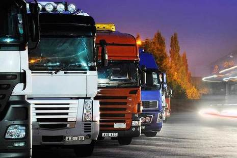 Lorries parked at night