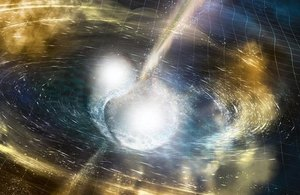 Illustration of two merging neutron stars