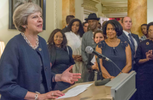 Prime Minister Theresa May speaking at a reception marking 30 years of Black History Month
