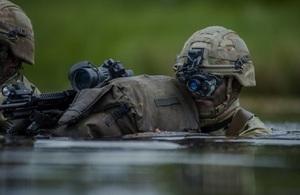 Soldier using helmet cam for target practice in water